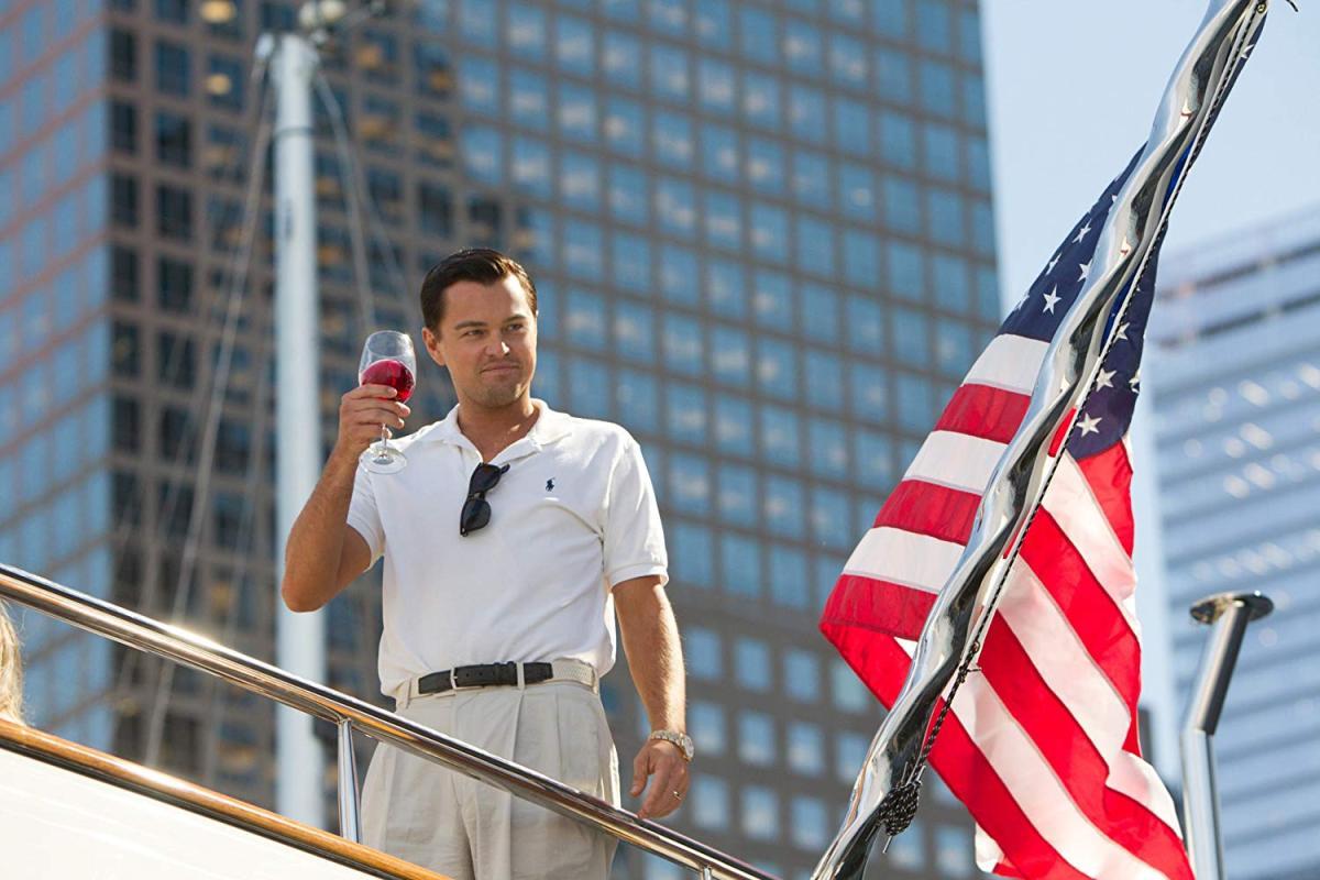 Una imagen de Leonardo DiCaprio en El Lobo de Wall Street.