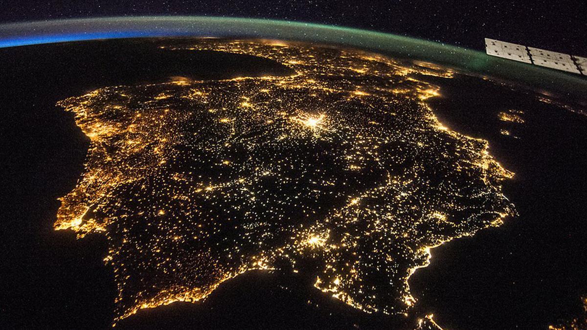 La Península Ibérica vista desde la Estación Espacial Internacional en 2014.