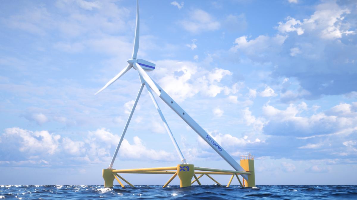 Molino eólico flotante instalado por la startup X1 Wind en las costas de Canarias