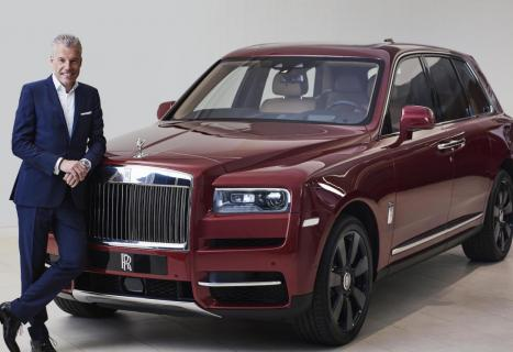 Rolls-Royce Motor Cars CEO Torsten Müller-Ötvös with the new Rolls-Royce Cullinan.