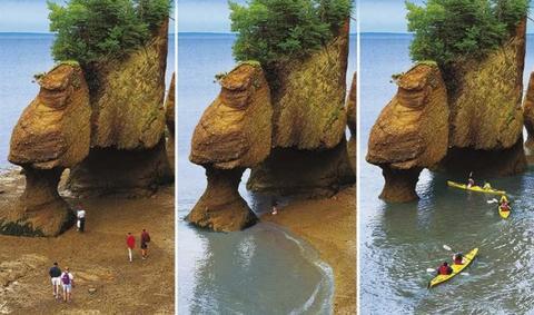 Bahía de Fundy, con las mareas más cambiantes del mundo.