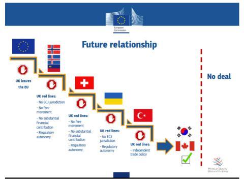 Un gráfico de la Comisión Europea muestra la posible relación entre la Unión Europea y Reino Unido tras el 'brexit'