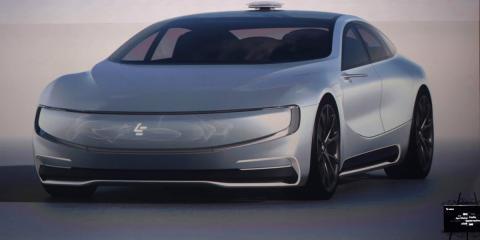 Vehículo eléctrico sin conductor de la compañía china de internet LeEco Holdings.