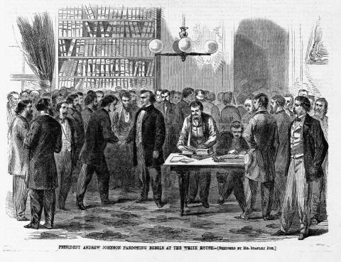 Cuadro Andrew Johnson perdona a los soldados confederados