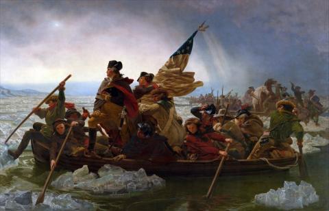 Cuadro de Leutze sobre el ataque de Washington contra los Hessianos en Trenton.