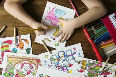dibujos colores niños navidad