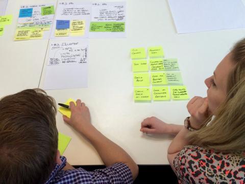 Dos personas preparan un planning juntos en el trabajo