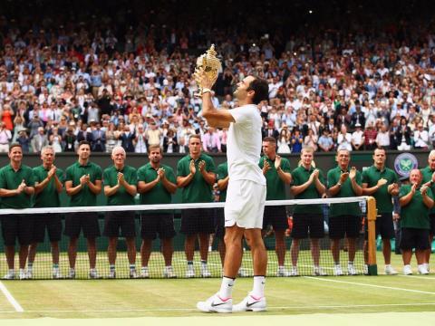 Roger Federer celebra su 19 Grand Slam