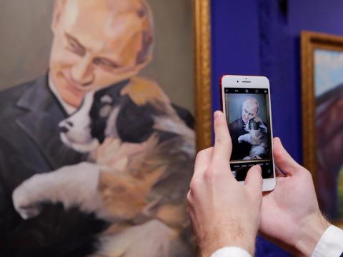 Exposición sobre Vladimir Putin, presidente de Rusia