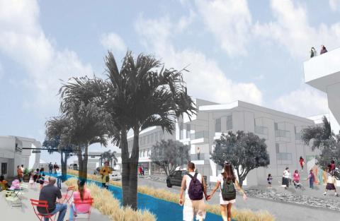 'Render' propuesto por un estudio de arquitectura para un centro comercial en Florida