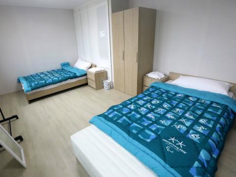 Una de las habitaciones en la Villa Olímpica construida para los Juegos Olímpicos de Invierno de Corea del Sur en 2018
