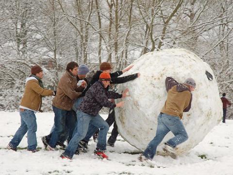 Individuos jóvenes amasan una bola de nieve GIGANTESCA