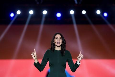 Inés Arrimadas, candidata de Ciudadanos, en la campaña electoral del 21D en Cataluña