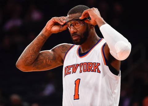 El jugador de baloncesto de la NBA Amar'e Stoudemire en un partido de los New York Knicks.