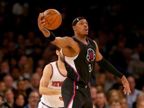 El jugador de baloncesto de la NBA Paul Pierce en un partido de Los Angeles Clippers.