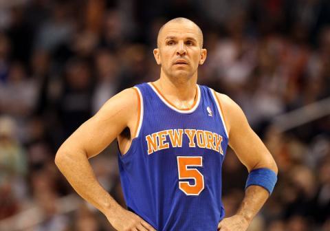 El jugador de la NBA Jason Kidd en un partido de New York Knicks.