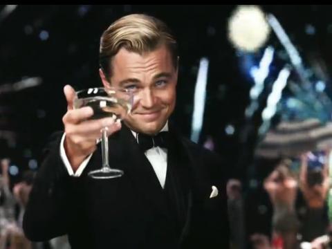 Leo Di Caprio como El gran Gatsby