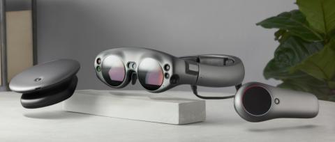 'Render' virtual del visor de realidad aumentada de Magic Leap