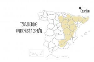 El Mapa de plantaciones truferas de España.
