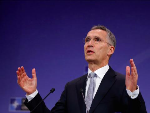 El secretario general de la OTAN, Jens Stoltenberg, durante una conferencia en el cuarte general de la Alianza en Bruselas (Bélgica).