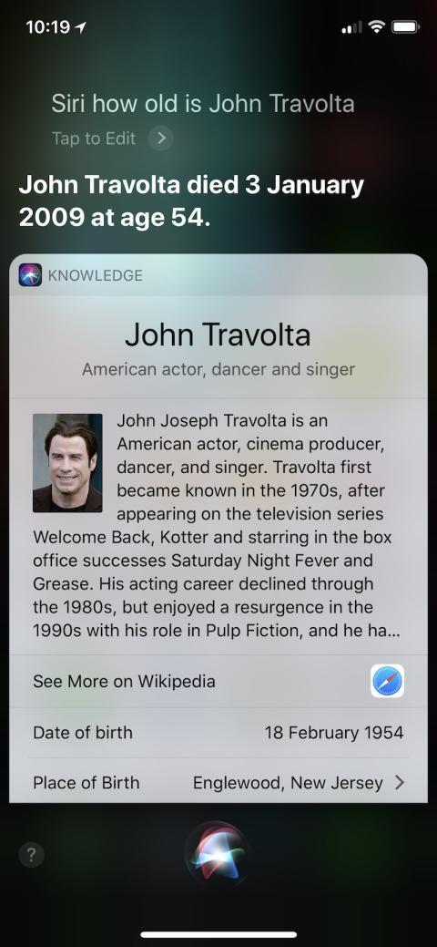 Siri, el asistente virtual de Apple, piensa que el actor John Travolta ha muerto