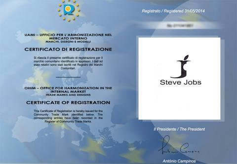 El certificado de registro de la marca Steve Jobs en la EUIPO