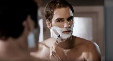 El tenista Roger Federer en un anuncio de la marca de cuchillas de afeitar Gilette.