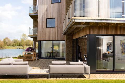 Terraza casa Habitat en Lago Spinney