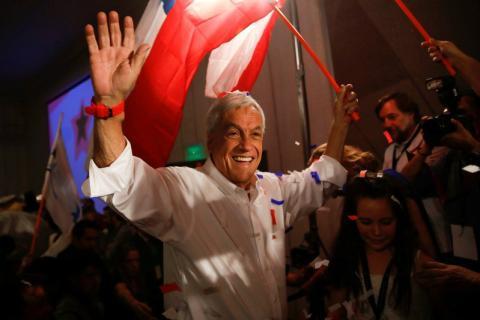 Sebatián Piñera durante un mitin electoral en Santiago de Chile.