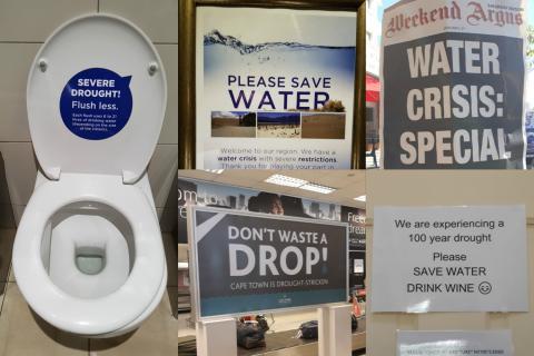 Carteles para luchar contra la sequía en Ciudad del Cabo