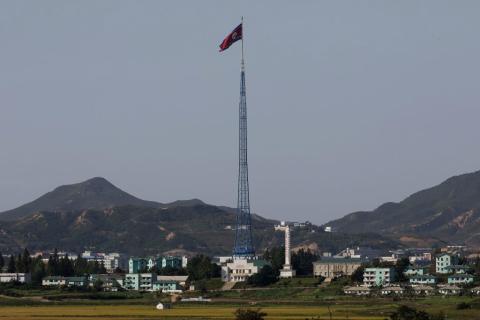 Vista de Corea del Norte desde el lado de Corea del Sur en la zona desmilitarizada