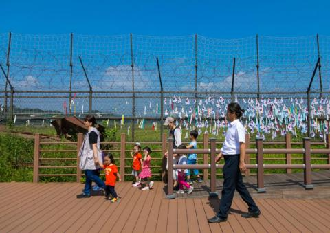 Mensajes en la zona demilitarizada entre las dos Coreas