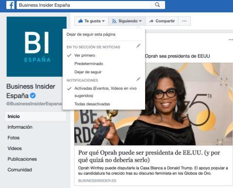 Facebook Actualizaciones Pagina