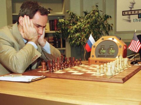 Garry Kasparov, momentos antes de la segunda partida del match contra Deep Blue.