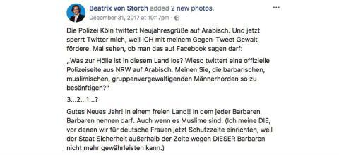 Captura de pantalla del mensaje de Facebook por el que ha sido condenada una persona en Alemania a raíz de la nueva ley.