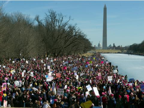Manifestantes en Washington, DC, EEUU.
