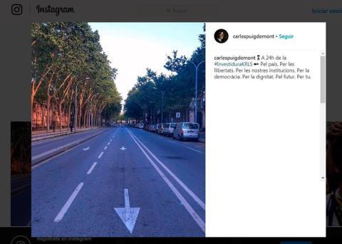 Mensaje de Instagram de Carles Puigdemont, de una calle de Barcelona.