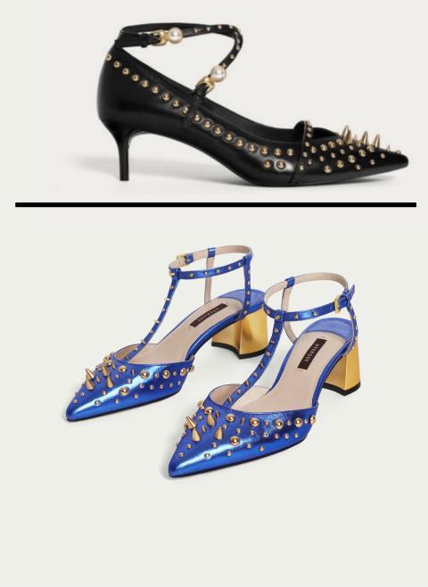 Modelo de Uterque de los zapatos de pinchos de Letizia, en azul y negro.