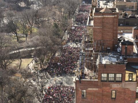 La multitud se agolpa cerca de Central Park, en Nueva York.