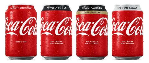 Nuevas latas de Coca-Cola, con el rediseño de 2018.