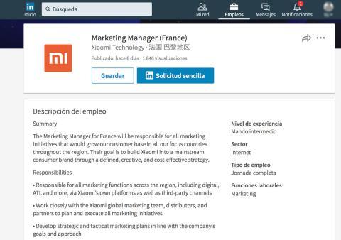 Oferta de empleo Linkedin Xiaomi
