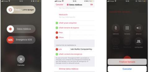 Pantallas botón SOS del iPhone