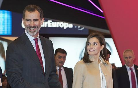 Los reyes Felipe y Letizia en la inauguración de Fitur 2018, el 17 de enero de 2018 en Madrid.