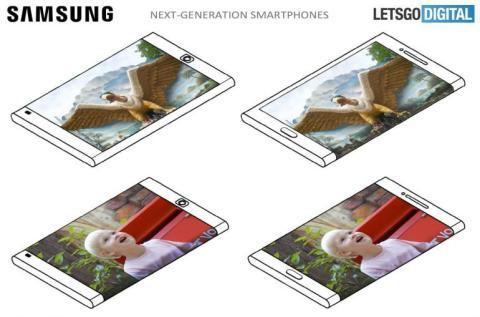 La patente de Samsung publicada el pasado 4 de enero muestra un 'smartphone' con una pantalla que rodea todo el lado derecho del dispositivo.