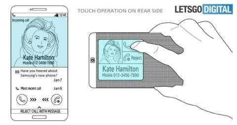 La patente de Samsung muestra cómo puede moverse el contenido entre la pantalla frontal y la trasera según cómo sostenga el teléfono el usuario.