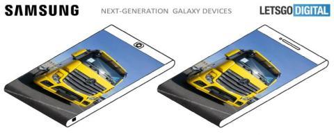 En la patente también se puede ver el dibujo de una pantalla que da la vuelta al teléfono por la parte inferior.