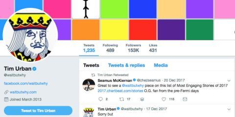 Captura de pantalla del perfil de Twitter de Tim Urban