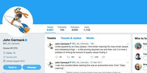 Captura de pantalla del perfil de Twitter del CTO de Oculus, John Carmack