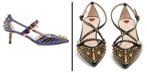 Zapatos de Gucci como los que llevó la reina Letizia, en azul y en negro.
