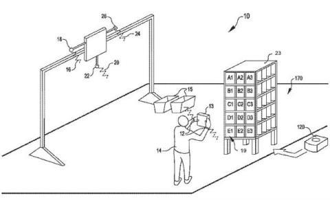 Imagen de la patente de Amazon con un brazalete de control